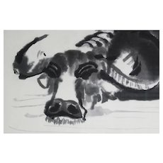 Chinese Brush Painting of Water Buffalo in Water Framed and Matted