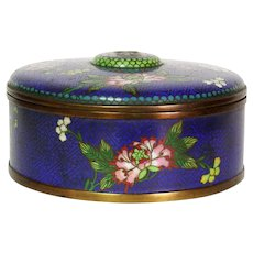 Antique Chinese Divided Cloisonne Domed Box Blue Ground Qing Dynasty