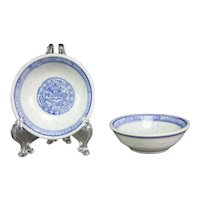 "2 Vintage Chinese Porcelain Rice Grain Blue & White 2.5"" Sauce Bowl Dragon"
