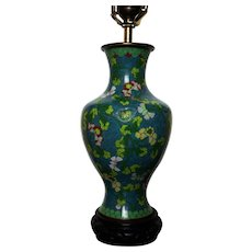Antique Chinese Cloisonne Vase Lamp Turquoise Ground