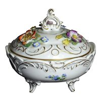 Dresden Porcelain Lidded Candy Dish by von Schierholz With Applied Flowers