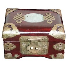 Vintage Chinese Jewelry Box With Carved Jade Inset