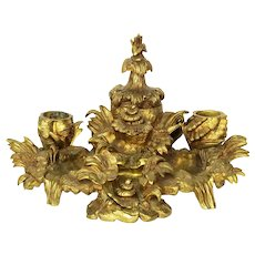 Antique French Highly Ornate Well Cast Doré/Ormolu Gilt Bronze Inkwell Cast