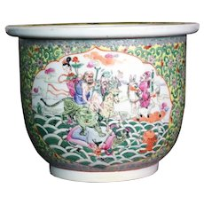 Chinese Porcelain Hand Painted Yellow Ground Jardiniere Depicting Procession
