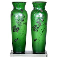 Antique Pair of Green Bohemian Glass Cut & Etched Silver Overlay