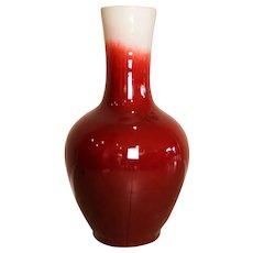 """Chinese Porcelain Oxblood Glaze Bottle Palace Sized Floor Vase 38.5"""" Tall"""
