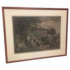 "John Hall   ""William Penn's Treaty with the Indians 1681""  18th Century Print"