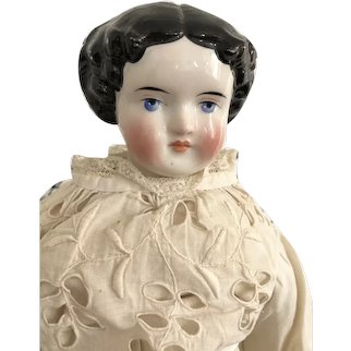 Antique German China Head Doll Brunette Flat Top High Brow