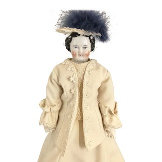 "Antique German 21"" High Brow Flat Top China Head Doll"