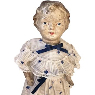 Early Antique Composition Head Doll, Molded Hair, Cloth Body
