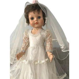 """Vintage 1950's Walker Talker 26"""" Bride Doll in original outfit by Eegee"""