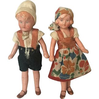"""Lot Of 2 Miniature Dollhouse Composition 3.5"""" Dolls Marked 787 Stamped Germany"""