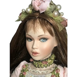 """Rare Porcelain 22"""" Doll Anna by French Christine and Cecile Mundia with COA /box"""
