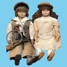 Artisan OOAK Sculpted Stockinette Head Vintage Boy + Girl Dolls, Antique Clothes