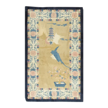 Vintage Chinese Pictorial Rug Circa 1940 - 3′ × 5′