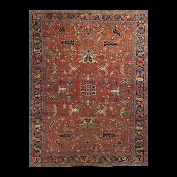 Vintage Persian Heriz Rug circa 1940 8'6 x 11'6