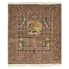 Antique Square Persian Kazvin Rug 3'7 x 4'