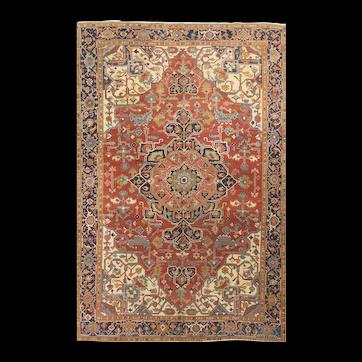 Antique Persian Heriz Serapi Rug, circa 1890 8'9 x 12'9