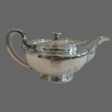 early 19th c George IV english sterling silver large tea pot London 1828 Empire st J Hardy