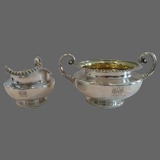 Early 19th C George IV English sterling silver sugar bowl & creamer London 1828 J Hardy