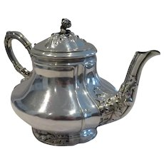 Magnificent & rare 1900 French sterling silver tea pot art nouveau  thistles A Debain
