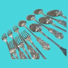 Gorgeous 19th c French 950 silver dessert forks soup spoons 12pcs LXVI st ear of corn P Queille