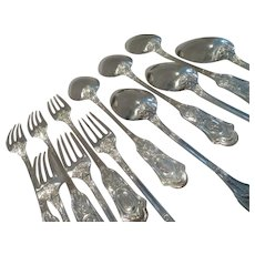 Gorgeous 19th c French 950 silver dessert forks soup spoons 12pcs LXVI st ear of corn P Queille