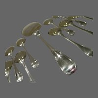 Magnificent & rare art deco French sterling 950 silver 13 ice cream set Christofle geometrical form