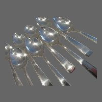 20th c US or Mexican sterling silver 8 coffee spoons foliages 179g 6,31oz