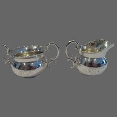 20th c american sterling silver creamer & sugar bowl for 2 foliages Shreve San Francisco
