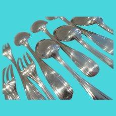 1925 French 950 silver 12p dinner cutlery set geometrical decoration 970g 34,20oz