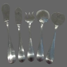1925 French Sterling Silver (950) appetizer serving set (5p) geometrical decoration 173g 6,1oz