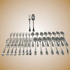 Gorgeous 1900 French sterling 950 silver 32p dessert luncheon cutlery set E Puiforcat Louis XVI st