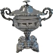 magnificent early 20th c  French sterling silver & crystal Drageoir Confiturier Debain Louis Philippe st
