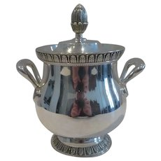 Vintage French silver-plated sugar bowl Christofle empire st Malmaison pattern