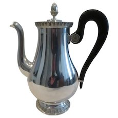 Vintage French silver-plated coffee pot Empire st Christofle Malmaison pattern