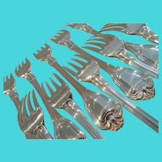 Vintage French silver-plated 10 dinner forks  Christofle Louis XIV st port royal pattern