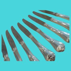 Vintage French silver-plated 8 dinner knives  Christofle Louis XIV st port royal pattern