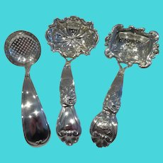 19th c Dutch 835 silver 3 sugar sifter spoons (1846, 1847 & 1879)