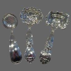 19th c Dutch 835 silver 3 sugar sifter spoons (1846, 1847 & 1879)