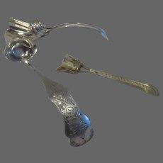 19th c Dutch 835 silver mustard ladle, tea caddy spoon & gilded salt spoon