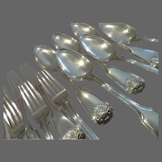 Gorgeous 1835-1837 Russian 875 silver (84 zolotnik) 12p dinner cutlery set St Petersburg shell J F Akerblom