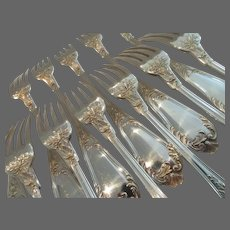 French sterling 950 silver 12 dessert luncheon forks Lapparra rococo st Chaumont pattern