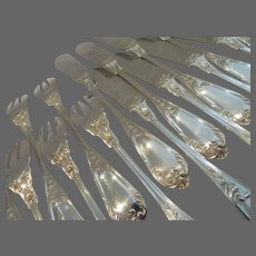 Gorgeous early 20th c French 950 silver 24p fish cutlery set rococo st EC