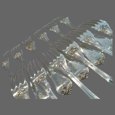 1900 French sterling silver 12 dinner forks Louis XV st foliages Henin