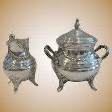 Magnificent early 20th c French sterling silver sugar bowl & creamer Louis XVI ST E Puiforcat