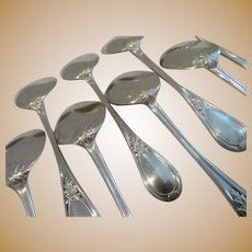 Gorgeous 1900 french sterling silver 12 ice cream spoons Louis XVI st Henin