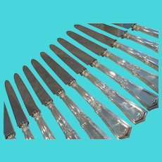 19th c French sterling silver & stainless steel 12 dessert / luncheon knives empire st Nicoud
