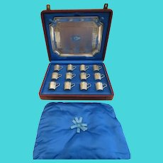 Magnificent 19th c French 950 guilloche silver 12 gilded liquor vodka goblets & tray Ferry silversmith Louis XVI st