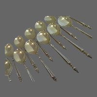 Gorgeous 19th c french 950 gilded silver 12 ice cream spoons russian st Ernest Compere